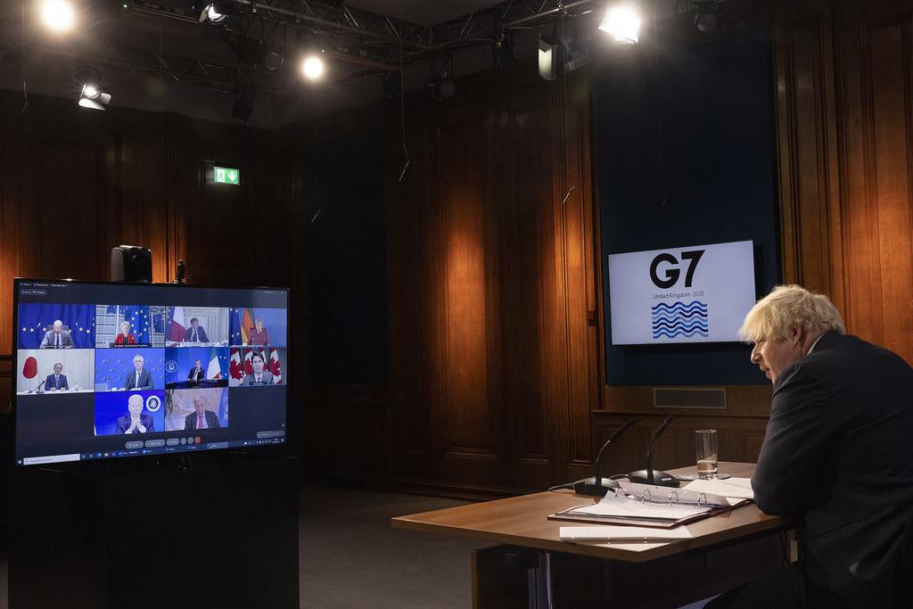Prime Minister Boris Johnson holds virtual G7 meeting